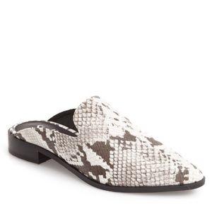 Shelly London snake skin heeled point slide mule